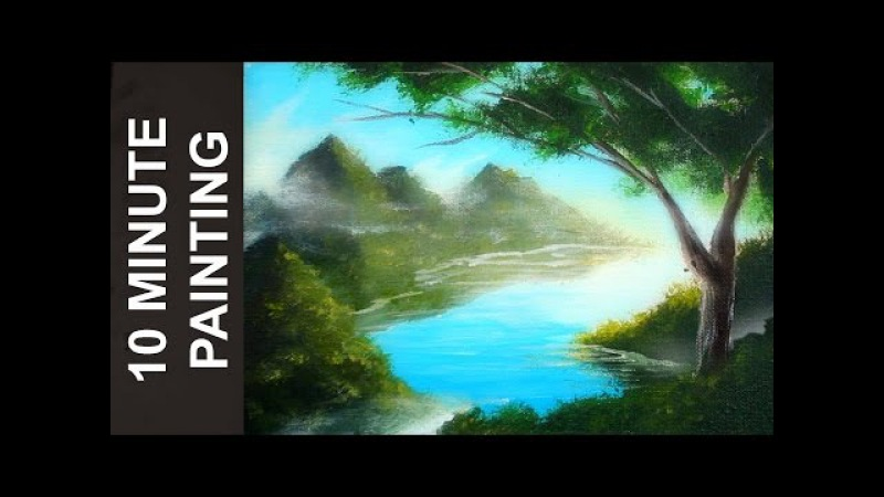 Painting a Forest Lake Landscape with Acrylics in 10 Minutes