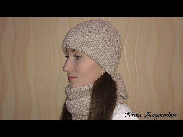 Вязание шапки с косами спицами.Мастер класс. Шапка с отворотом