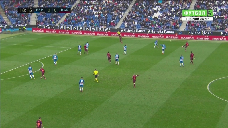 Чемпионат Испании 2017-18 Primera Division 22-й тур Эспаньол - Барселона 1 тайм [720, HD]