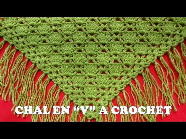 Punto para Chal a crochet en V o en punta FÁCIL Y RÁPIDO DE TEJER en punto cuadrados rellenos