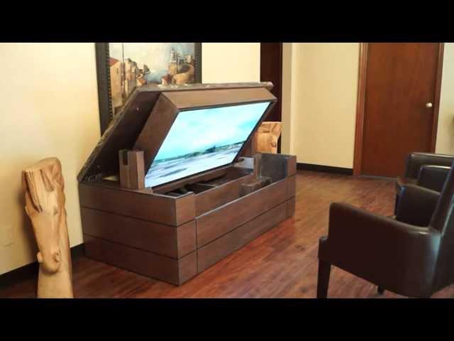 American TV Lift Cabinet Unique Handcrafted Low Profile Granite Top TV Cabinet