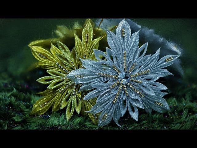 СНЕЖИНКА Крылья Ангела , мастер класс из лент, КАНЗАШИ / DIY Ribbon Flower Kanzashi
