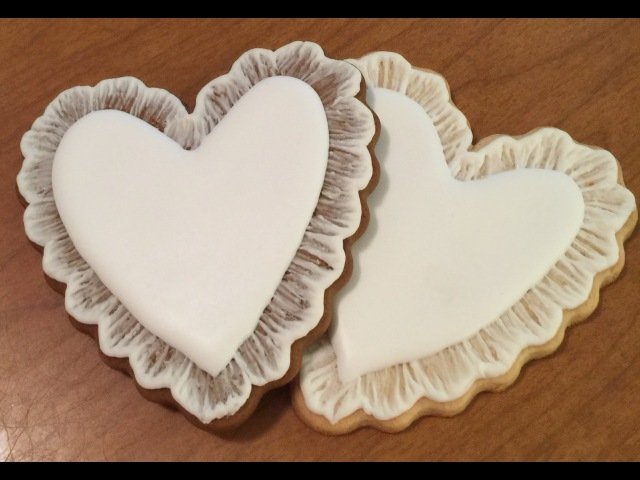 Lacy Brush Embroidery Heart Cookie!