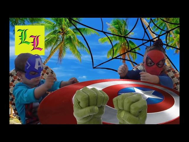 Marvel Superheroes free time in real life.Playground,sea.Супергерои на детской площадке