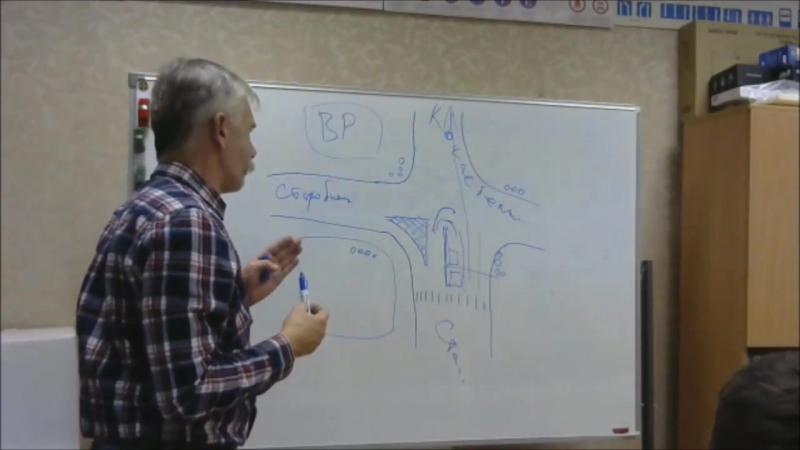 Фрагмент лекции в УМЦ Профессионал. Разворот на перекрёстке Старокачаловская - Старобитцевская - Коктебельская.