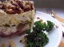 Очень вкусный салат с мясом, чесноком и орехами