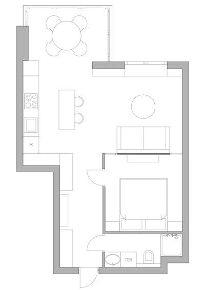 Интерьер квартиры 36 м с выделенной спальней в Киеве.