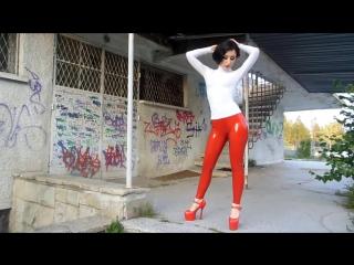 Wearing Red Latex Leggings Outside