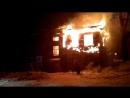 Пожар на ул.Разина, горит расселённый барак в Бийске 02.02.2018
