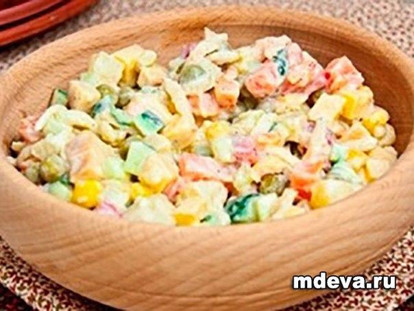 Салат Оливье рецепт с говядиной и кукурузой