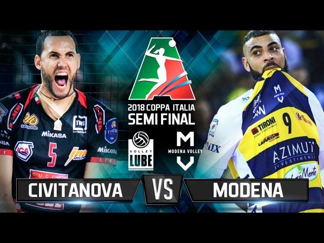 Civitanova vs Modena 2018 Coppa Italia Semi Final Volleyball Highlights