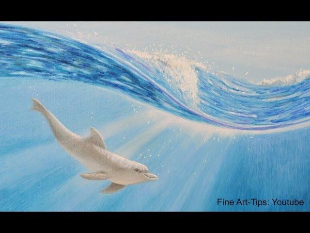 How to Draw a Dolphin Underwater With Color Pencils - Wie malt man einen Delfin unter Wasser