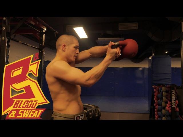 Тренировка бойца на силу и взрыв с гирей для акцентированного удара. Техника бокса и СФП.