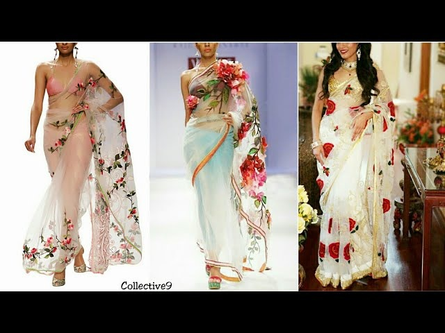 Latest Designer Floral Sarees Designs Blouse Patterns