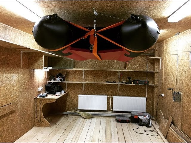 Проект гараж 15 (крепление надувной лодки под потолок)