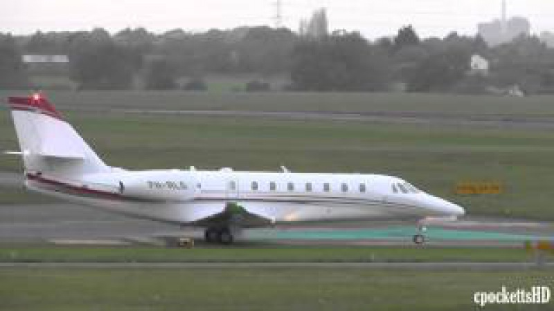 Brand New Cessna 680 Citation Sovereign - Close up landing and take off - Gloucestershire Airport