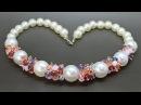 Колье из акриловых и стеклянных бусин мастер класс DIY Necklace from crystals beads