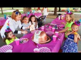 Birthday Party for kids Alisa opening gifts &amp plays with toys Fun playground for children Kids video