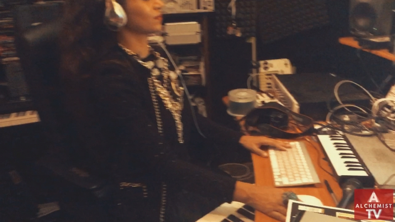 Jahna Sebastian in the studio with percussionist Tilly