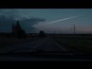 На кадры видеорегистратора попало падение метеора в Домодедово.. Видео: Сергей Барыбино