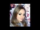 Ксения Саватеева Вечерний макияж черные смоки айз с золотым декором Видео урок до и после