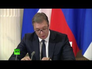 Point presse du président russe Vladimir Poutine et de son homologue serbe Aleksandar Vucic
