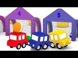 4 carros coloridos. Jogar futebol! As cores para crianças