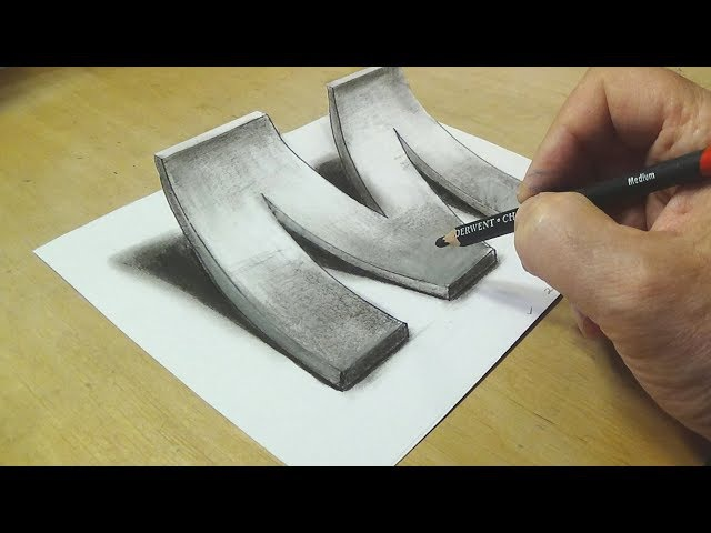 How to Draw 3D Letter M Drawing with pencil By Vamos