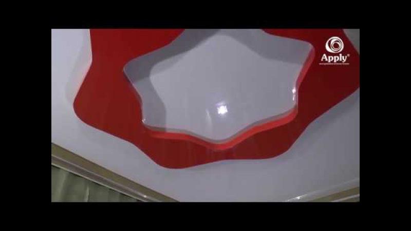 Монтаж готовых конструкций двухуровневых натяжных потолков.