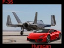 Supercars Lamborghini Huracan LP 610 4 and f 35 Fighting