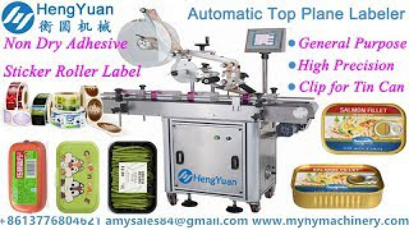 Automatic Top Surface Plane Labeling Machine Applied in Tin Can Label Applicator