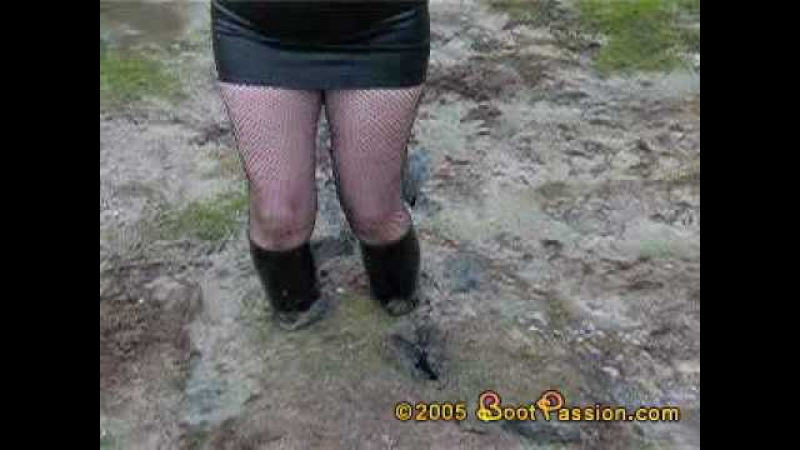 Riding boots black skirt mud quicksand