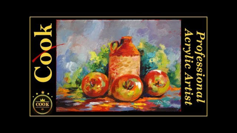 Acrylic Brown Jug with Three Apples Still Life with Ginger Cook