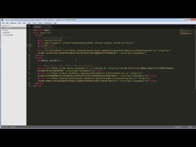 02 Установка и подключение bootstrap 4