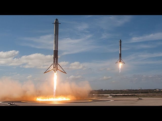 INSANE! SpaceX Falcon Heavy Side Boosters Landing Simultaneously at Kennedy Space Center
