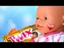 Bad Baby Born Doll steals eating chips and candy Johny Johny Yes Papa Nursery Rhymes Song for Kids