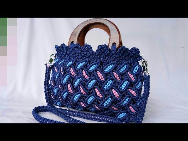 Tutorial Lengkap Tas Tali Kur Motif Daun - Full Making Of Macrame Bag With Leaf Pattern