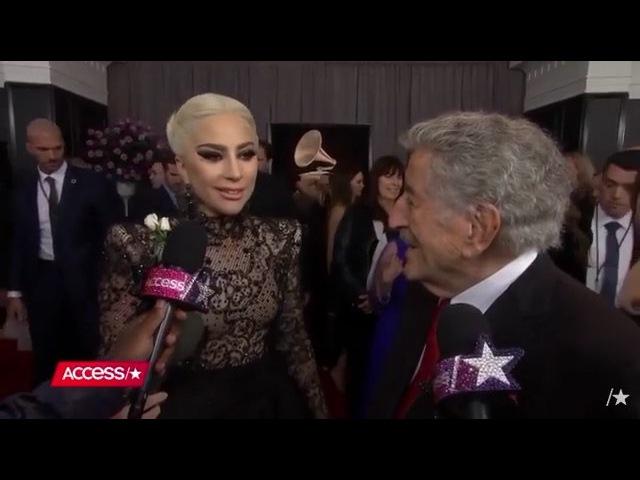 28 января Леди Гага и Тони Беннетт на красной ковровой дорожке юбилейной 60 й премии Грэмми Нью Йорк США