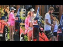 Miley Cyrus flaunts her slender figure in a bikini and tiny denim shorts as she continues Australian