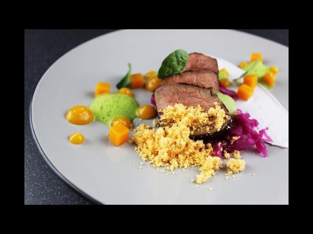 Plating michelin star food | Pork, pumpkin, rosemary, chorizo, sauerkraut | Amazing cooking hack (2)