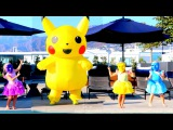 Learn colors with Pokemon pikachu & Cute Baby jumping in Pool Popular baby color's song for kids