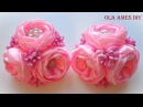 Цветы из лент Kanzashi flower tutorial Wedding hair accessoire Ola ameS DIY