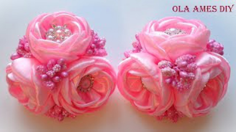 Цветы из лент/ Kanzashi flower tutorial/ Wedding hair accessoire/ Ola ameS DIY