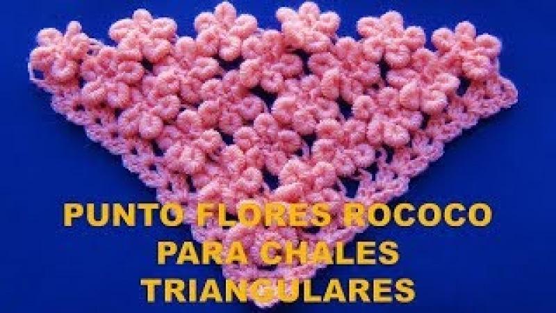 Punto a Crochet para Chales en V: FLORES EN PUNTO ROCOCO paso a paso