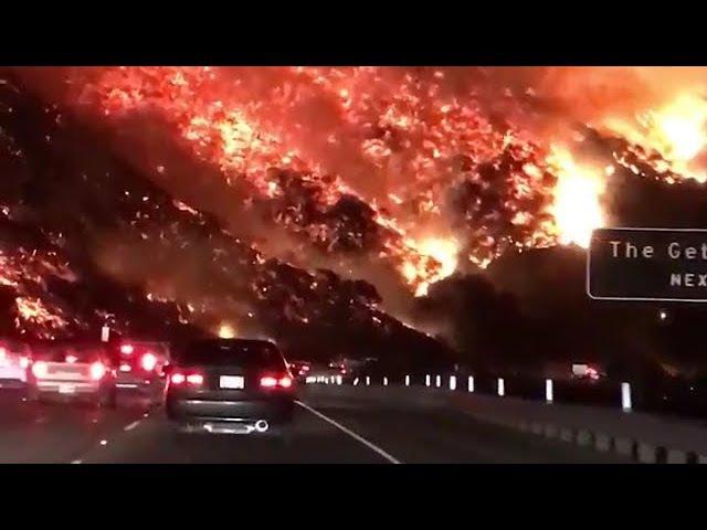 Massive wild fire near Santa Monica LA California   Пожар рядом с городом Санта-Моника, 06.12.2017