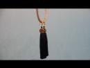 Темно синие серьги-кисти в золотом дизайне