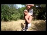 shoulder-ride on French ponygirl