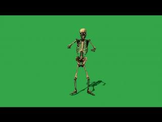 Футаж Танцующий скелет на зеленом фоне