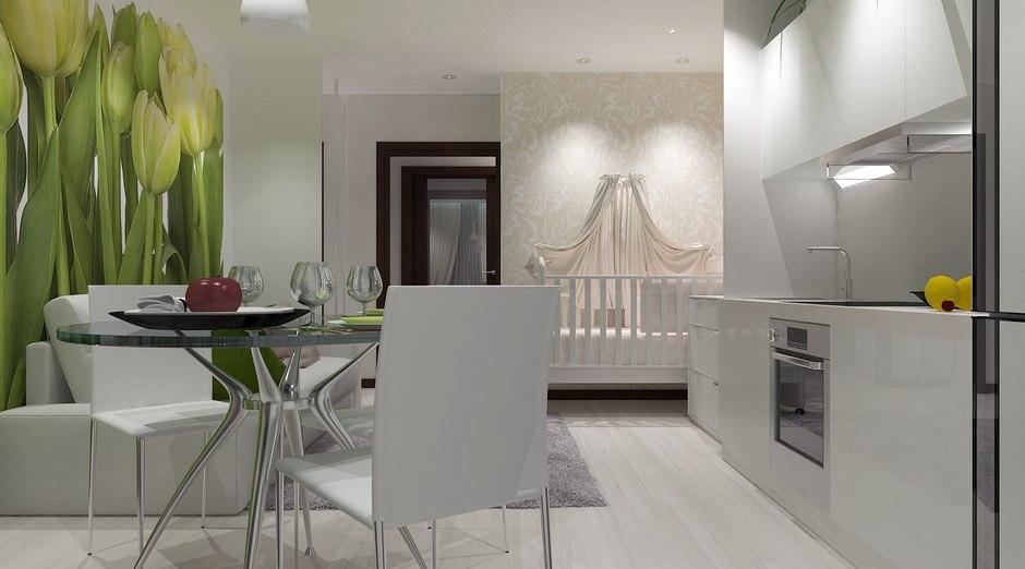 Концепт типовой студии 26 м для семьи с маленьким ребенком от застройщика ГК Новый дом, Киров.