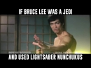 Bruce Lee with Lightsaber Nunchuks Star Wars meets Enter the Dragon